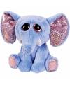 Pluche olifant knuffel blauw 21 cm